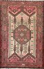 Vintage Geometric Traditional Oriental Area Rug Hand-knotted Wool 4x6 ft Carpet