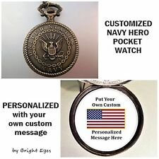 "CUSTOM Personalized USA Navy Military Pocket Watch & 31"" Chain Unisex w/USA FLAG"