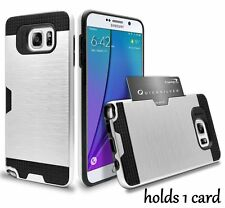 For Samsung Galaxy Note 5 -HYBRID TPU RUBBER CREDIT CARD SLOT INSERT CASE SILVER