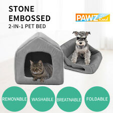 Grey Pet Cat Kitten Cubby Dog Cozy Cave Basket House Cage Stone Embossed Crate