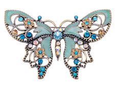 UK Antique Green Enamel Paint Butterfly w Rhinestone Flower Pin Brooch