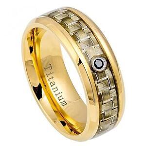 Titanium Band Ring Yellow Gold w/ 0.05ct Black Stone & Golden Carbon Fiber Inlay