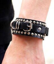 Bracelet Femme,Homme,Cuir Noir,Qualité,Clouté,Argent,Rock,Motard,Biker,Punk,Mode