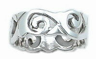 STERLING SILVER Wave Ring - Size 6