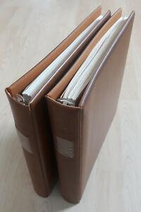 2 braune LINDNER-Ringbinder, mit Falzlos-Vordrucken Bund 1972-1989, gebraucht