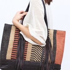 ZARA Blogger's Fav Boho Wool Leather Jute Travel Bag Shopper Fringe Sisal Tote
