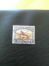 USED STAMP OF SOUTH AFRICA 1949-54  HORSES 1/- BLUE & BROWN.