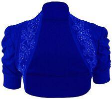 New Women's 100% Cotton Ruched Beaded Sequins Bolero Shrug Cardigan Size 8-26