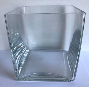 Clear glass cube square flower vase 14cm x 13cm x 13cm