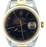 Rolex Datejust Mens 18K Yellow Gold Stainless Steel Watch Jubilee Black 16233