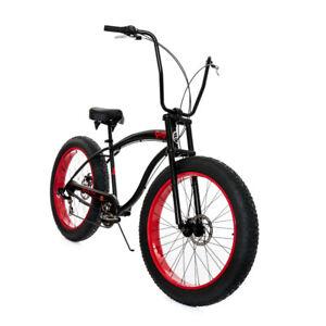 """26"""" MIcargi Slugo SS 7 speeds 4"""" Fat Tire Bike Bicycle matte Black/ Red rims"""