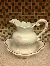 Floral Decorated Maryleigh pottery Staffordshire water Jug & wash Bowl Set
