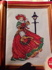 Joan Elliott Victorian Xmas Lady Wreath Lamppost Christmas Cross Stitch Chart