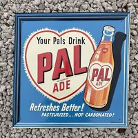VINTAGE PAL ADE DRINK EMBOSSED SIGN PORCELAIN OIL GAS STATION SODA PETROLIANA