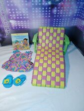 American Girl Bitty Baby FLOWER HEARTS TANKANI OUTFIT + Book +Beach Chair Lounge