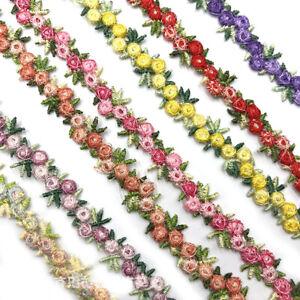 1Yard Flower Embroidered Trim Lace Ribbon Fabric DIY Wedding Dress Sewing