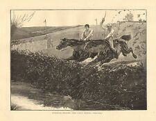 Horses, Steeplechasing, The Last Fence, Before & After, 2pgs, Vintage 1874 Print