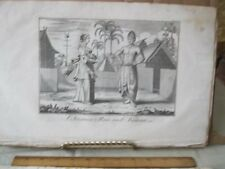 Vintage Print,Javanese Man+Woman,18th Cent,Peoples World Dress