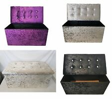 Crush Velvet Double Folding Storage Ottoman Seat Box Large Pouffee Foot Stool
