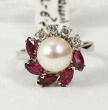 Anello in 585 oro bianco con perla colivata, rubin-navette E BRILLANTE 0,12