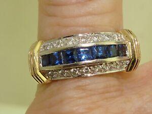14K SOLID MULTI-TONE GOLD APPROX. 1 1/5 CTW SAPPHIRE & DIAMOND RING! SZ 7 1/2