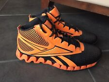 209c3e3a9e33f9 Reebok Zig Tech Orange Black basketball athletic high top sneaker 12