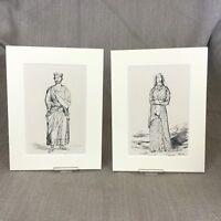 1842 Antico Impronte King Henry II Regina Elanor Costume Storico Periodo Abito