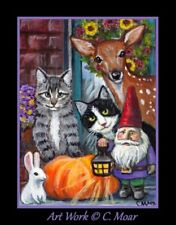 Tux Tabby Cat Fawn Bunny Rabbit Gnome Flowers ACEO Limited Edition Art Print
