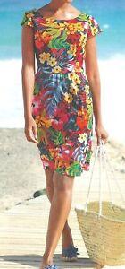 Alba Moda Kleid Freizeitkleid Sommerkleid Meshkleid Strandkleid multicolor 40
