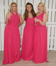 Chiffon Infinity Multi Way Hot Pink Convertible Bridesmaid Dress Maxi Prom Gown
