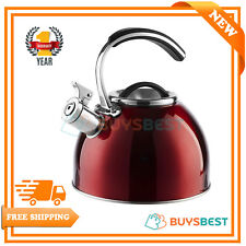 Morphy Richards Stove Top 3 Litre Whistling Kettle Stainless Steel Red - 974761