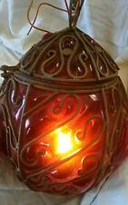 """Vintage Caged Blown Red Glass Ceiling Light Lantern .Gorgeous 15"""" High 10"""" Wide."""
