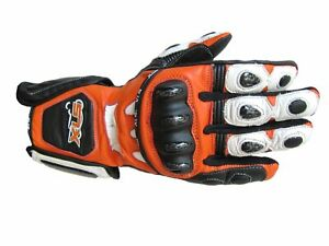 XLS Motorradhandschuhe KTM Orange Lederhandschuhe Schwarz Weiß Gr. S - 3XL