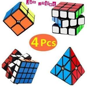 Qiyi 4PCS Speed Cube Set, Smooth Puzzle Cube -- 2x2 3x3 4x4 Pyraminx Magic Cube