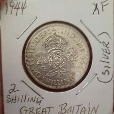 1944 British silver 2 shillings, very High condition, XF CONDITION!!!!