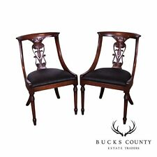 pair antique regency mahogany rope twist chairs
