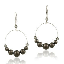Sterling Silver Brown Swarovski Elements Wire Dangle Earrings