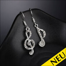 Trend Musik Noten Note Ohrstecker Earrings goldfarben mit pink Zirkonia
