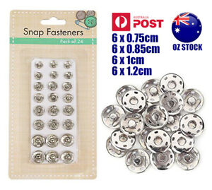 24pk Snap Fasteners Sewing Snaps Silver Studs Press Buttons Craft Assorted Sizes
