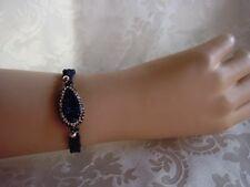 Makramee Armband Druse Plastinlin Strass Blau / Crystal Handarbeit