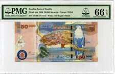 ZAMBIA 50000  KWACHA 2003 P 48 15TH LABEL GEM UNC PMG 66 EPQ