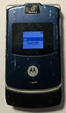 READ FIRST Motorola RAZR V3 Blue (UNLOCKED) T-Mobile Cell Phone Good Used