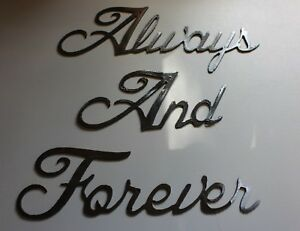 """Always and Forever - Silver - Words Metal Wall Art Accents Approx 4 1/2"""" tall"""