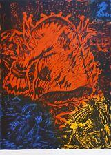 """Jörg Immendorff """"Le feu du monde""""1989 linocut hand signed German Artist Jorg XXL"""