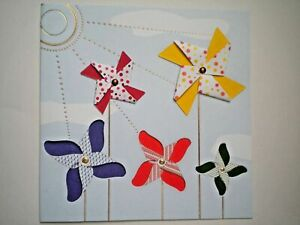 Paper Magic ~ EMBELLISHED WINDMILLS BLANK ANY OCCASION GREETING CARD + ENVELOPE
