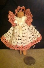 Handmade Hand  Crocheted Angel on Round Wooden Clothespin ~ Made in USA
