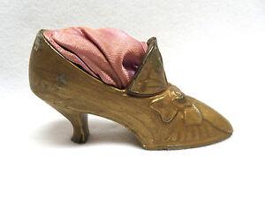 Antique Victorian Gilded Metal High Heel Shoe Pincushion