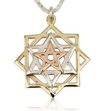 Necklace - Pendant 14k Gold & Silver , Star Of David , Judaica & Kabbalah Magen