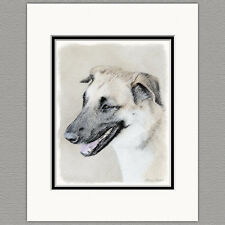Chinook Dropped Ears Dog Original Art Print 8x10 Matted to 11x14