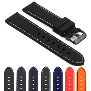 StrapsCo Rubber Watch Strap with Contrast Stitching for Samsung Gear S3 Frontier